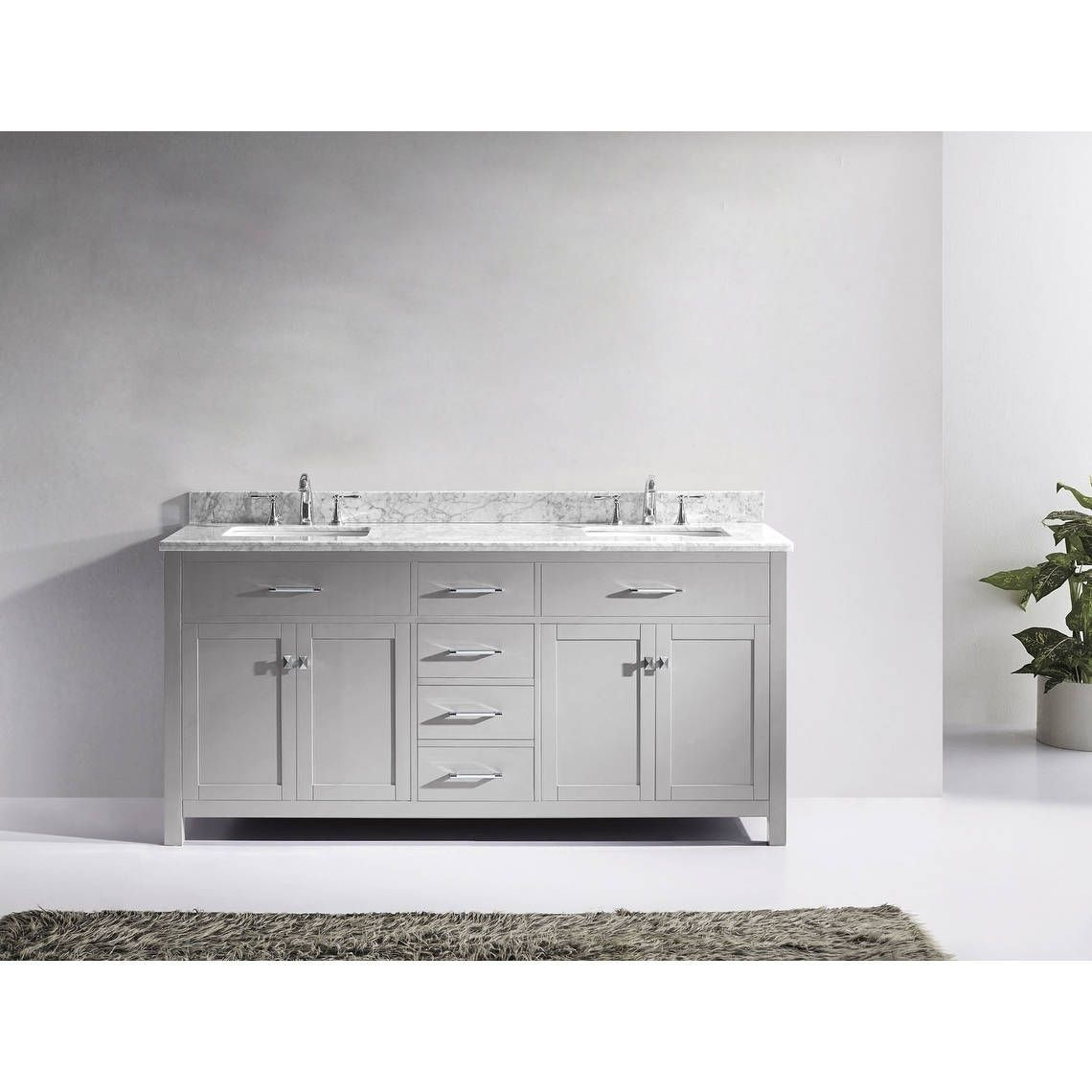 Virtu USA Caroline 72-inch Carrara White Marble Double Bathroom ...