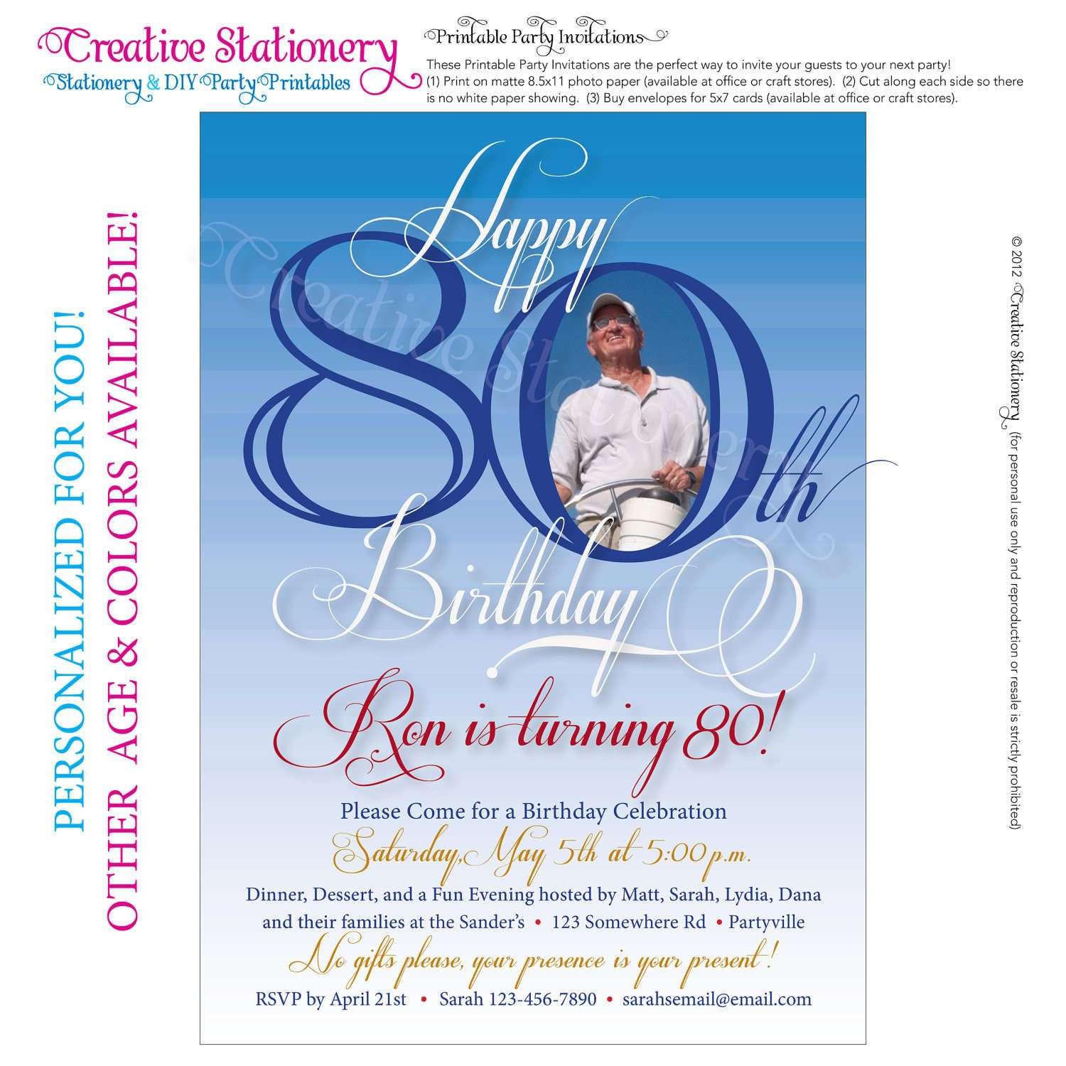 Free Printable Invitations For 80th Birthday Party | Party ...
