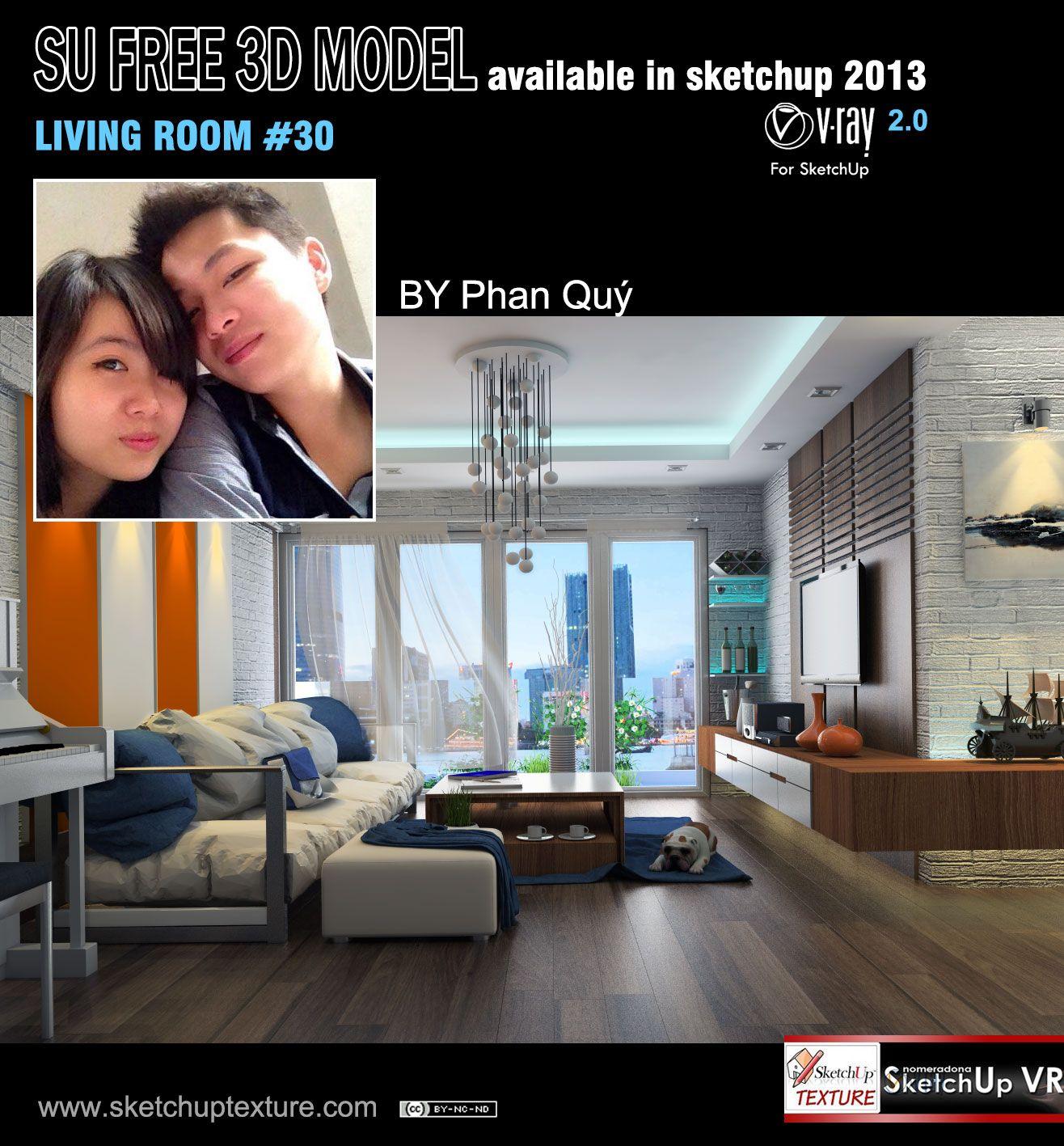 Free #sketchup 3d model moderne #living room #30, shared by Phan ...