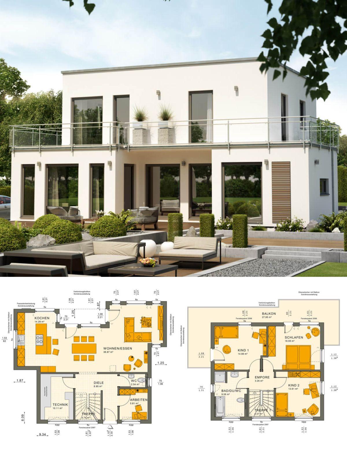 Modernes einfamilienhaus mit flachdach architektur im for Modernes einfamilienhaus grundriss