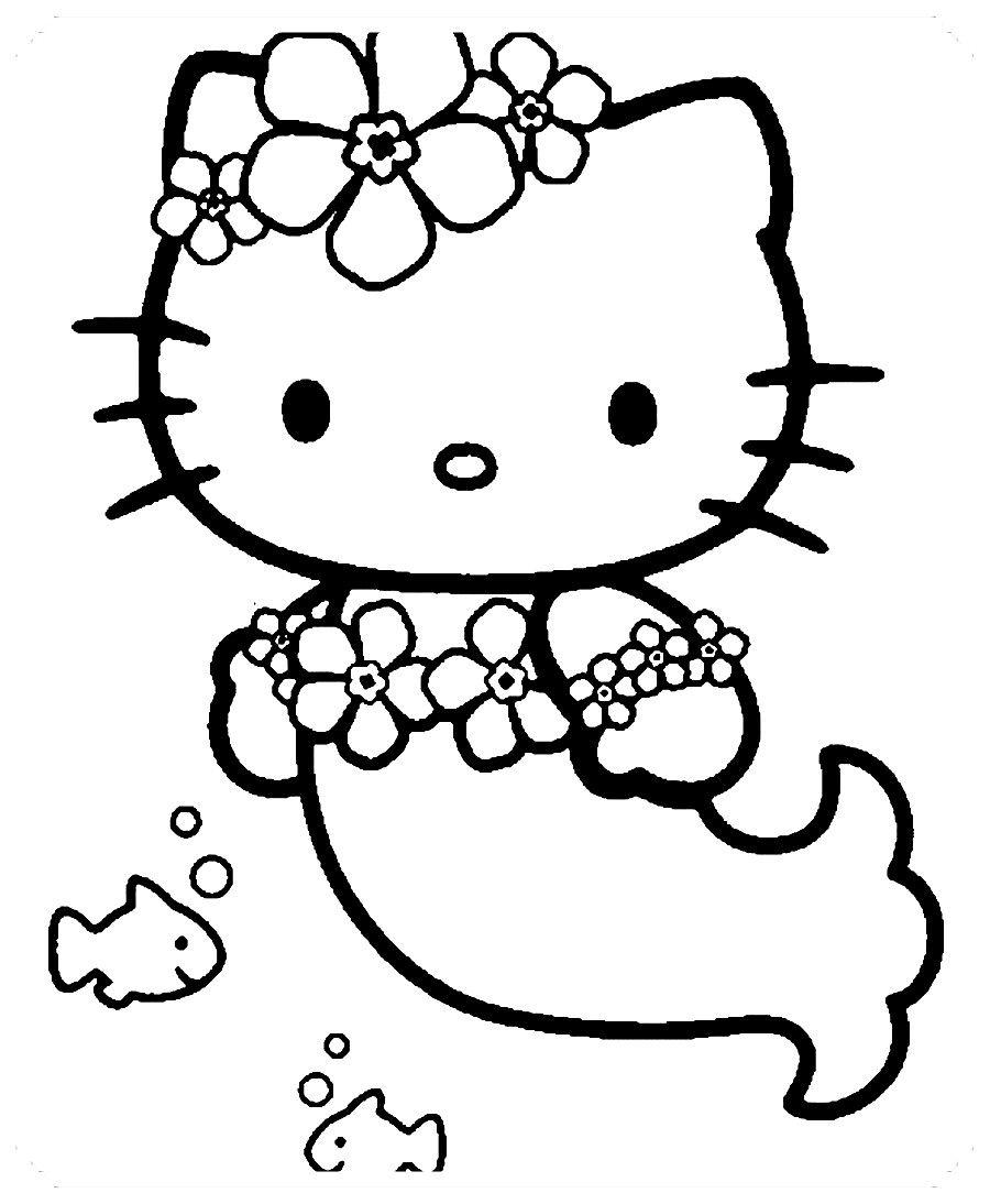 Dibujos De Hello Kitty Para Colorear With Images Mermaid