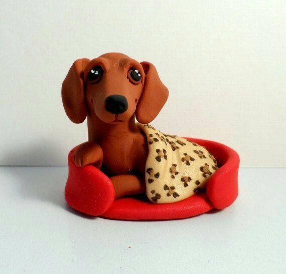 Clay DACHSHUND Dog Figurine handmade