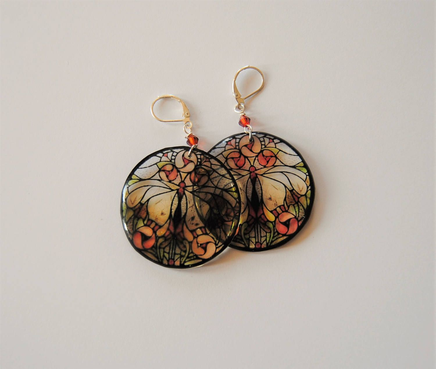 Erfly Stained Gl Style Boho Chic Inspirational Earrings Dangle Resin