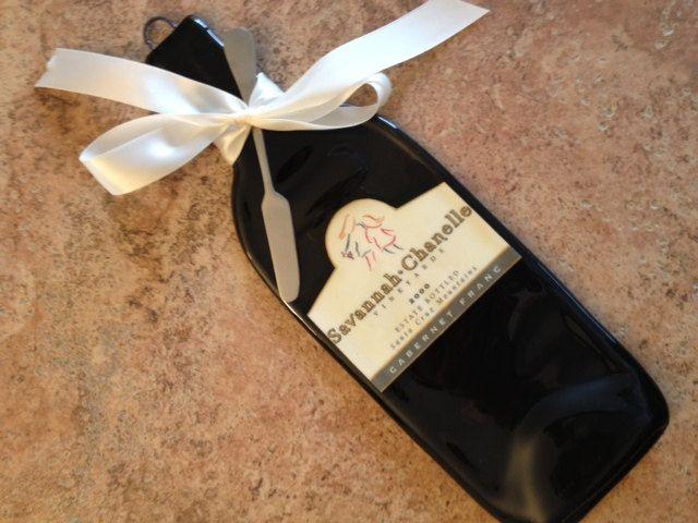 Etsy Transaction - reserved custom order for Cheri Levitz - Flattened, slump, melted wine bottle, elegant cheese tray, spoon rest,