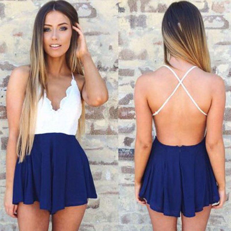Modelos de vestidos cortos con la espalda descubierta