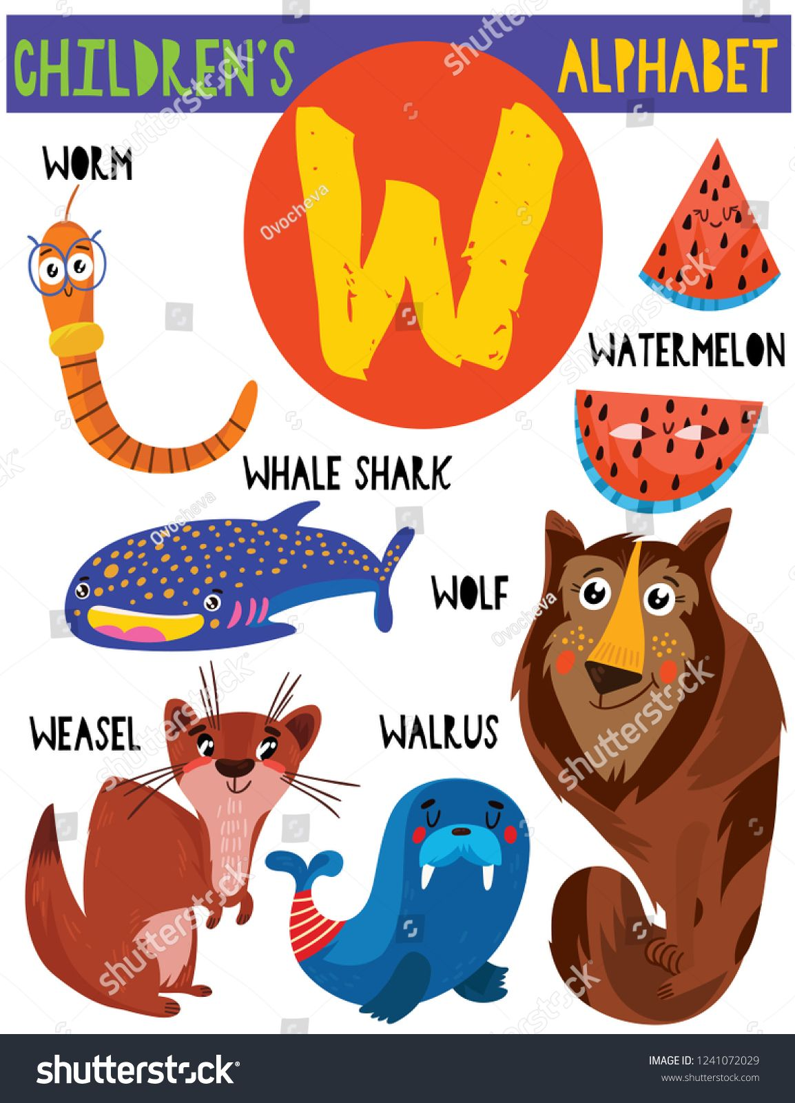 Letter W Cute Children S Alphabet With Adorable Animals And Other Things Poster For Kids Learning English Vocabu Childrens Alphabet Cute Animals Animal Posters