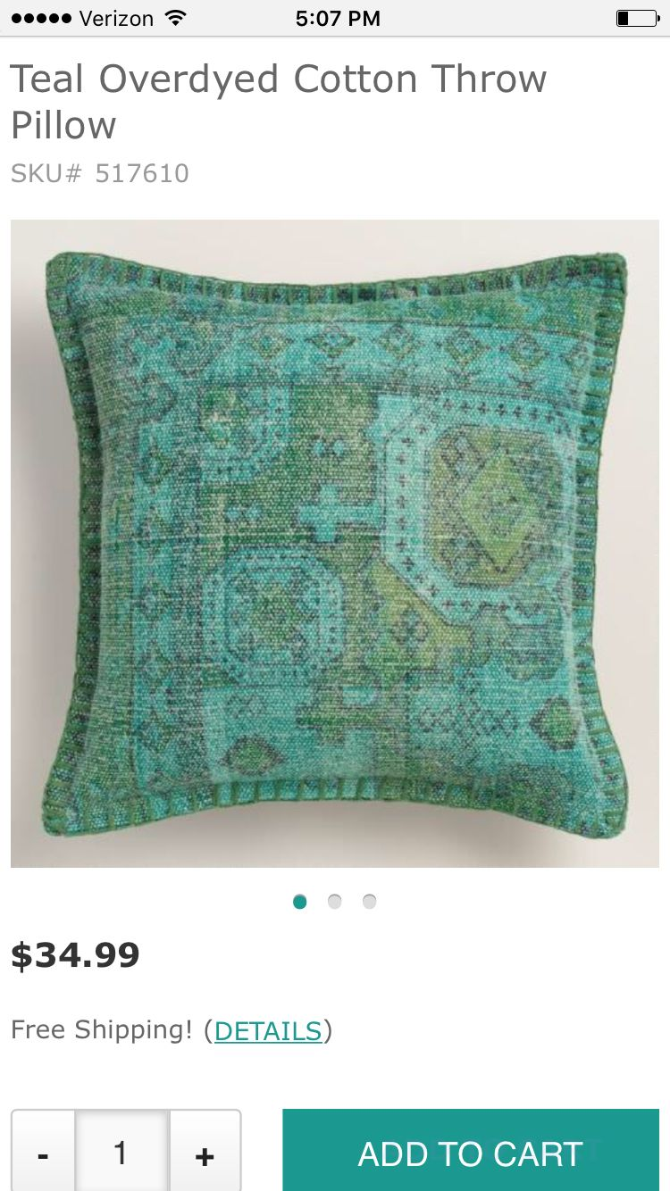 World Market Teal Overdyed Cotton Throw Pillow