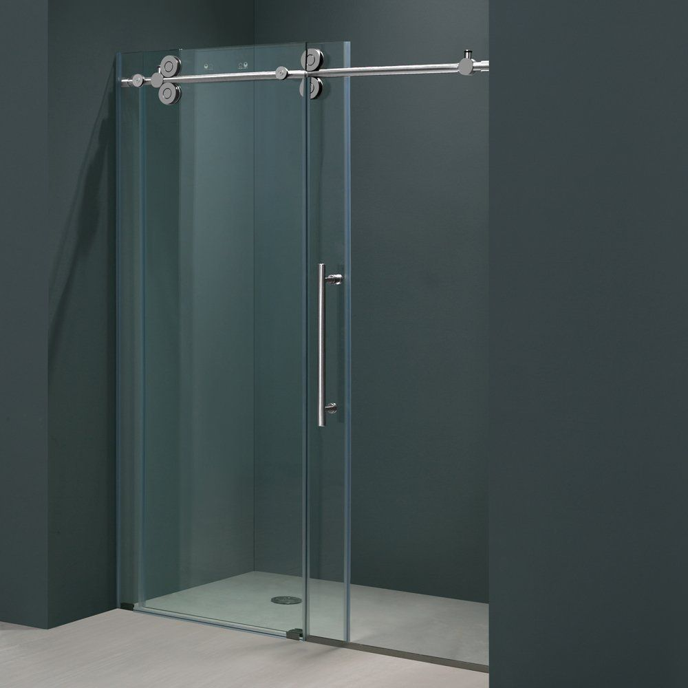 Captivating Sliding Shower Doors For Simple Room That Painted In Cool Grey Color