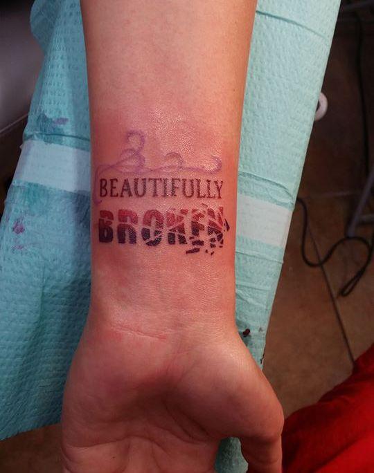 Beautifully Broken Tattoo : beautifully, broken, tattoo, Beautifully, Broken, Wrist, Tattoo, Ideas, Designs, Meaningful, Tattoos,, Tattoo,, Tattoos