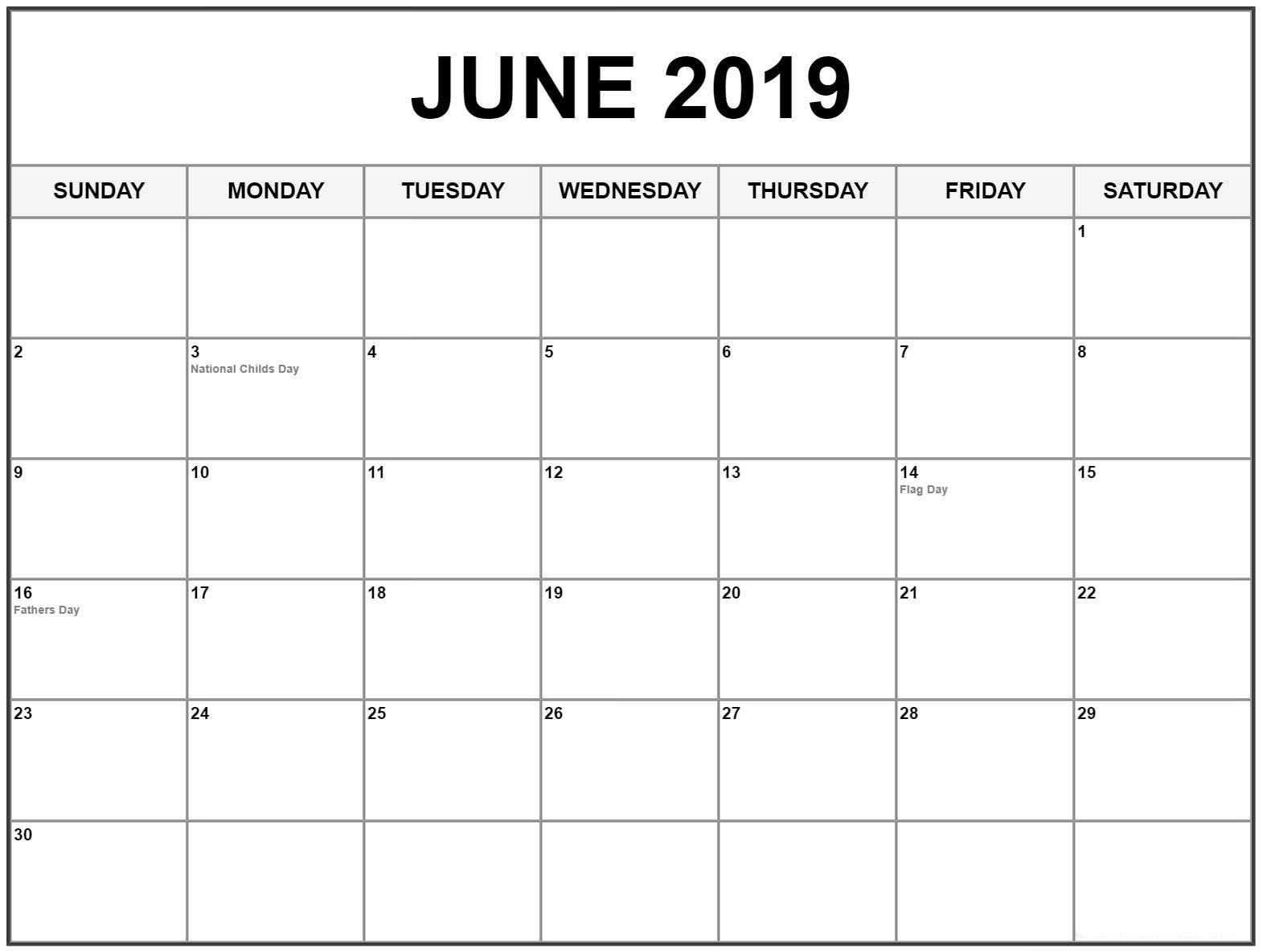 Editable June 2019 Calendar June Junecalendar2019