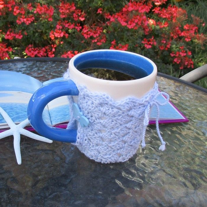 Light blue mug cozy, coffee cosy, cup warmer, birthday