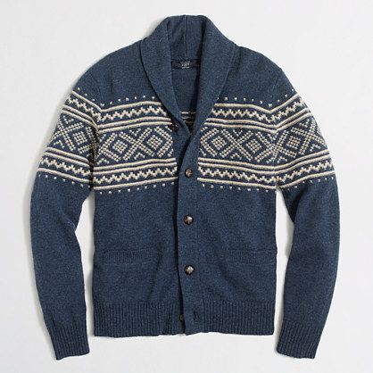 J.Crew Factory - Factory Fair Isle shawl-collar cardigan sweater ...