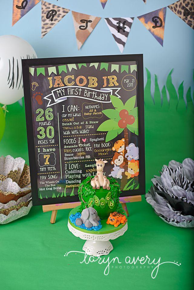 Cake Smash First Birthday Safari Jungle Carter Turns