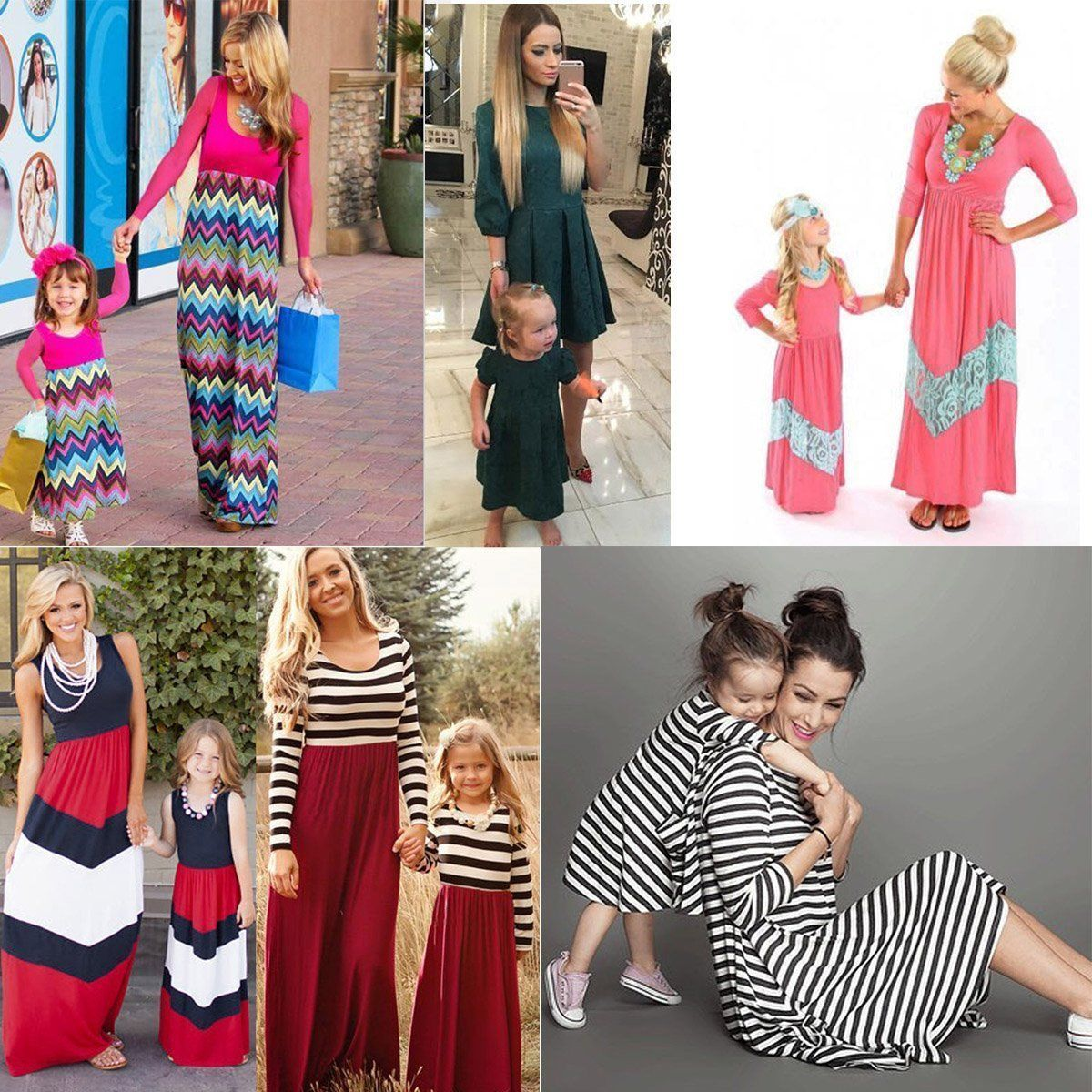 Fashion Family Clothes Mother Daughter Dresses Womens Kids Girls Long Maxi  Dress 63a5304e31