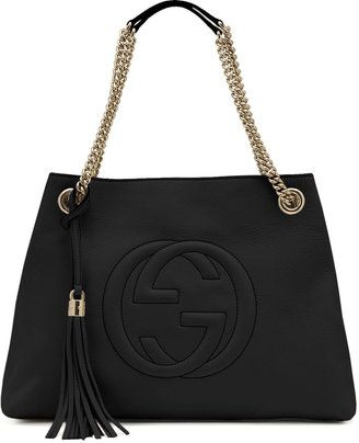 9b583ded9e ShopStyle: Gucci Soho Leather Chain-Strap Tote, Black | Kabelky in 2019