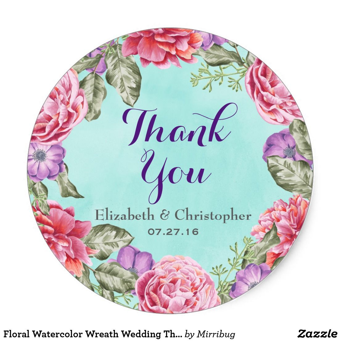 floral watercolor wreath wedding thank you classic round sticker