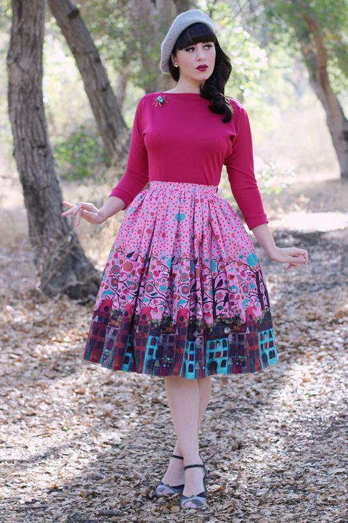 Miss Fortune Boardwalk Skirt in Amsterdam Flora & Fauna print Kitty Batwing Top in Cerise