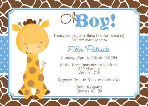 Boy Giraffe Baby Shower Party Invitations