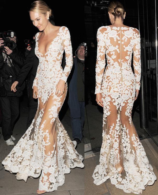 Elegant ladies white lace dresses
