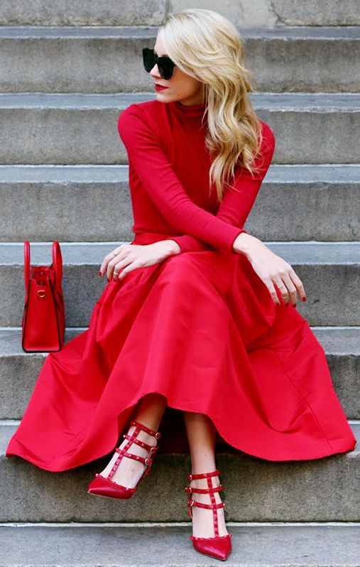 Red Full Maxi A-skirt by A House In The Hills