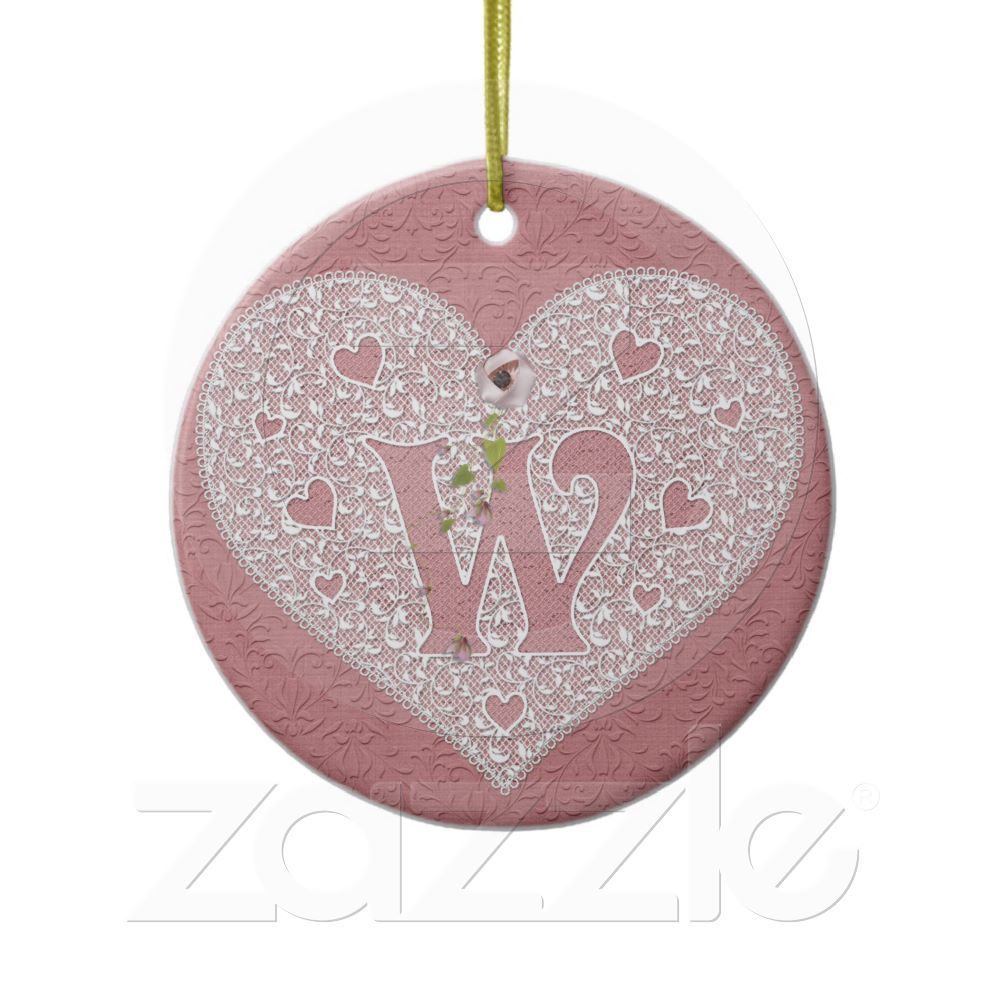 Great gift for the bride to be! This lovely initial ornament has a heart shaped lace area with the initial W showing against a pink background. While the backside of it is personalized with the Bride and Groom's names and wedding date! Available in all letters! Simply email me at DGGallery@hotmail.comwith any requests for unique and beautiful gifts.