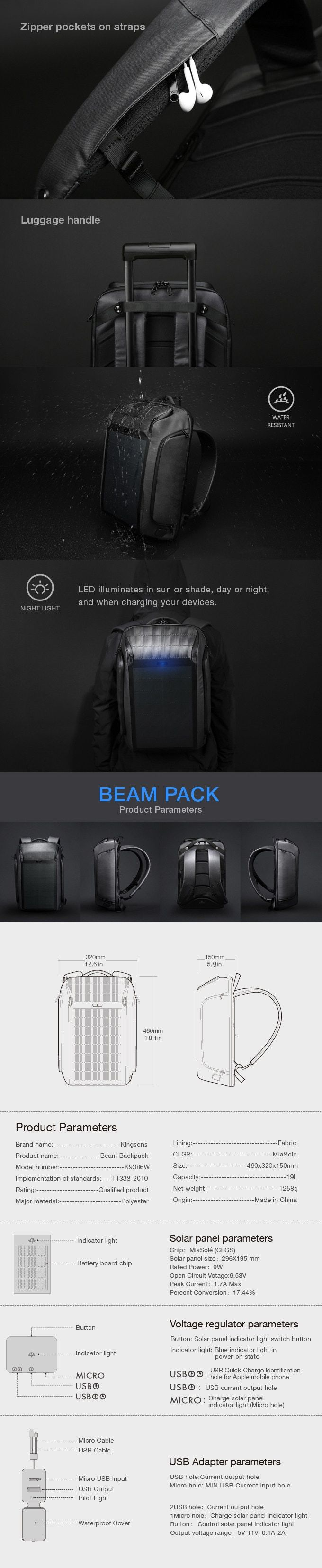 Beam Backpack The Most Advanced Solar Power Backpack By Kingsons Prime Kickstarter