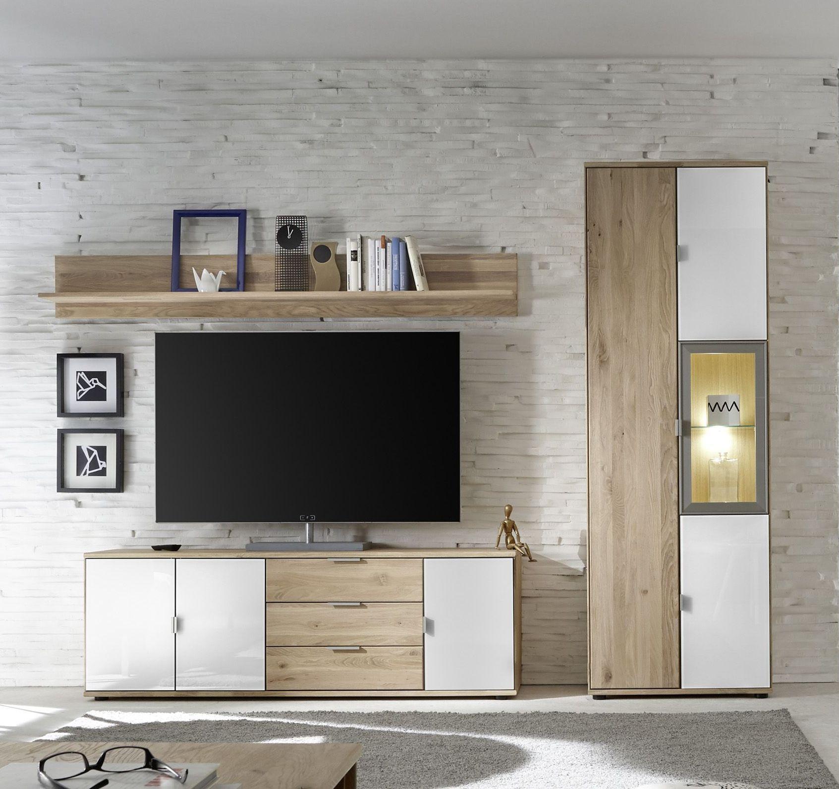 Wohnwand Wildeiche Bianco Geölt Und Gebürstet/glas Weiss Woody 101 00184  Holz Modern Jetzt