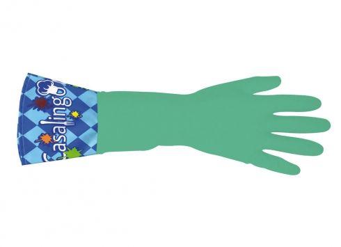 GUANTI VERDI CASALINGO. Paio di guanti in gomma per le faccende domestiche color verdi con bordi con scritta