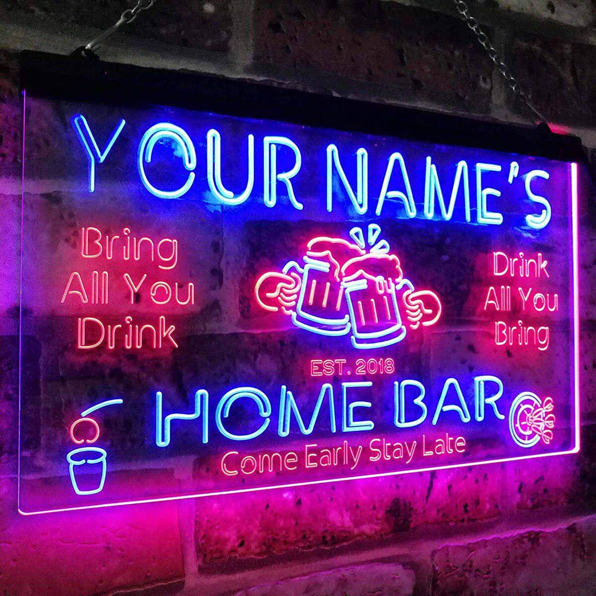 Custom Neon Bar Man Cave Sign | Man cave signs, Man cave
