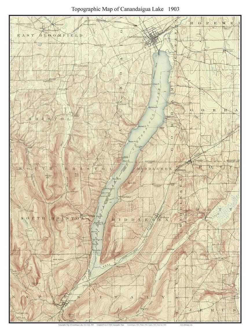 Canandaigua Lake  USGS Topographic Map Custom Composite - Nyc map topographic