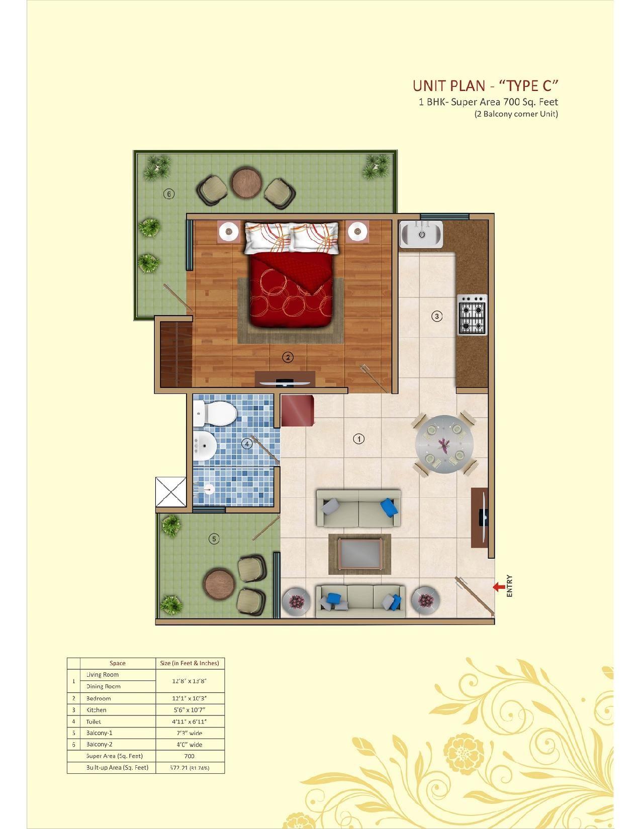 Tech Zone Residency 1 BHK Super Area 700 Sq. Ft. Floor