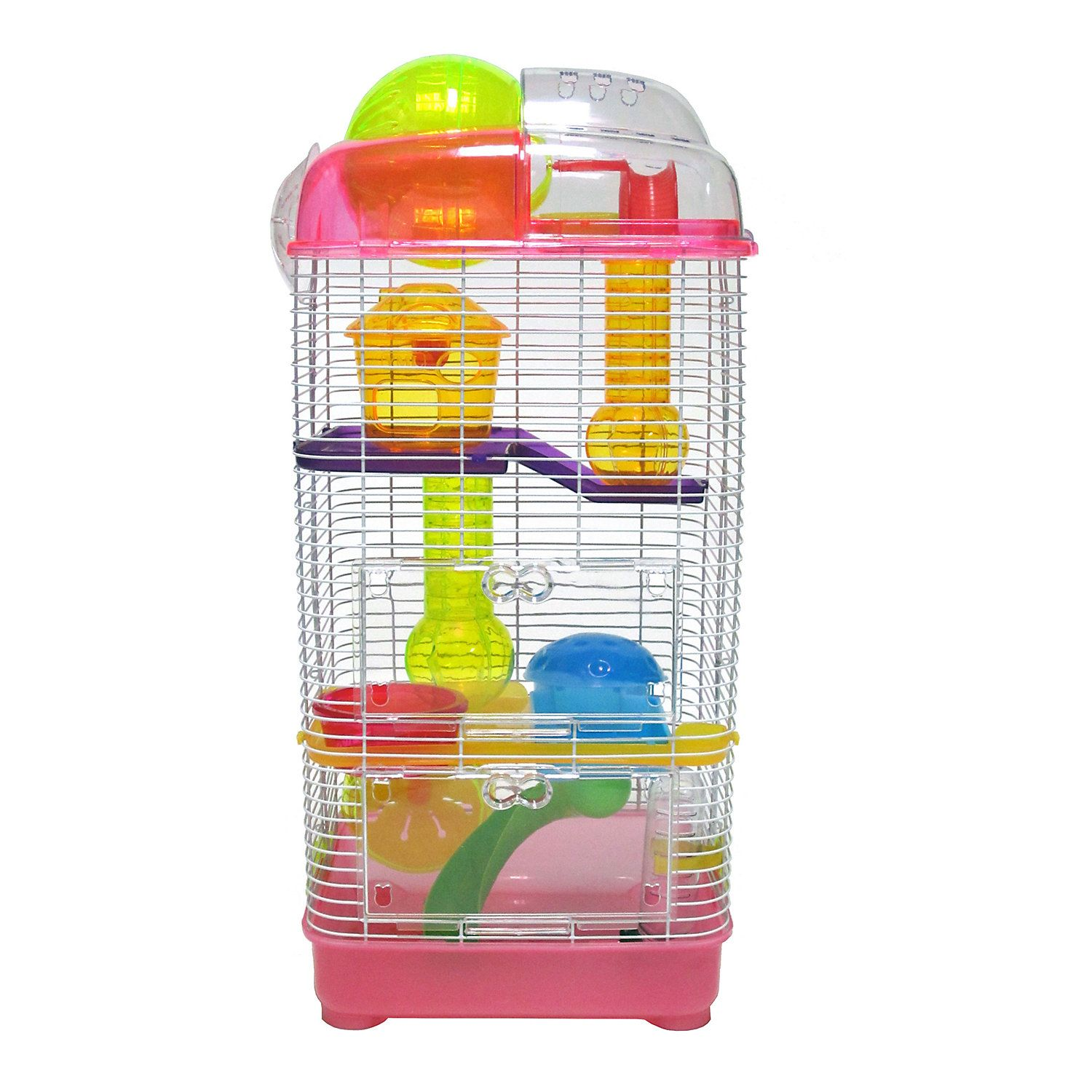 Yml 3 Level Plastic Clear Pink Hamster Cage 10 L X 10 W X 23