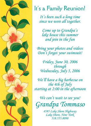 25 Personalized Family Reunion Invitations - FRF-02 Yellow Floral