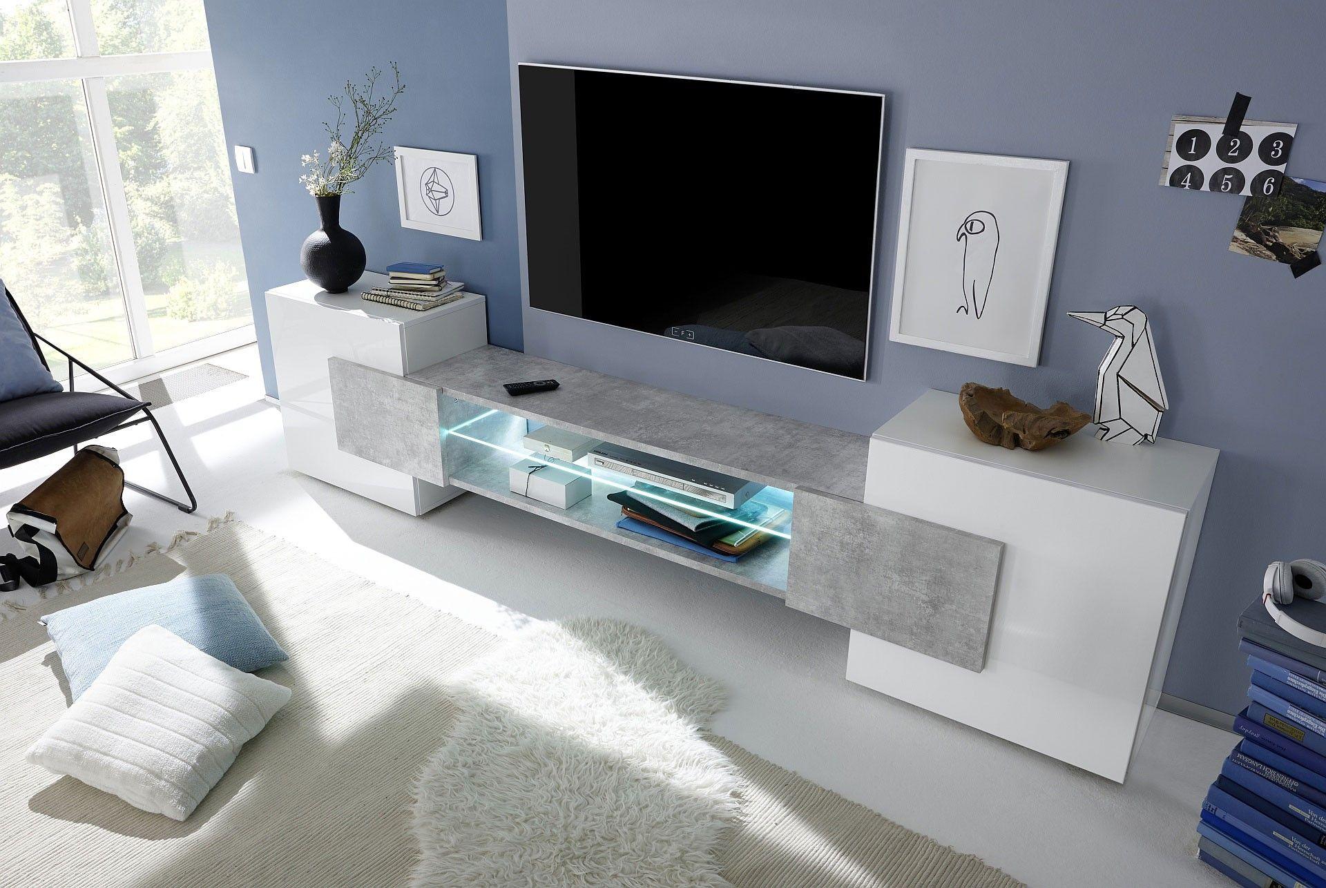 meuble tv design blanc et gris ides de dcoration intrieure french decor - Meuble Tv Design