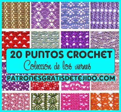 Coleccion de 20 patrones de puntos ganchillo | punto crochet ...