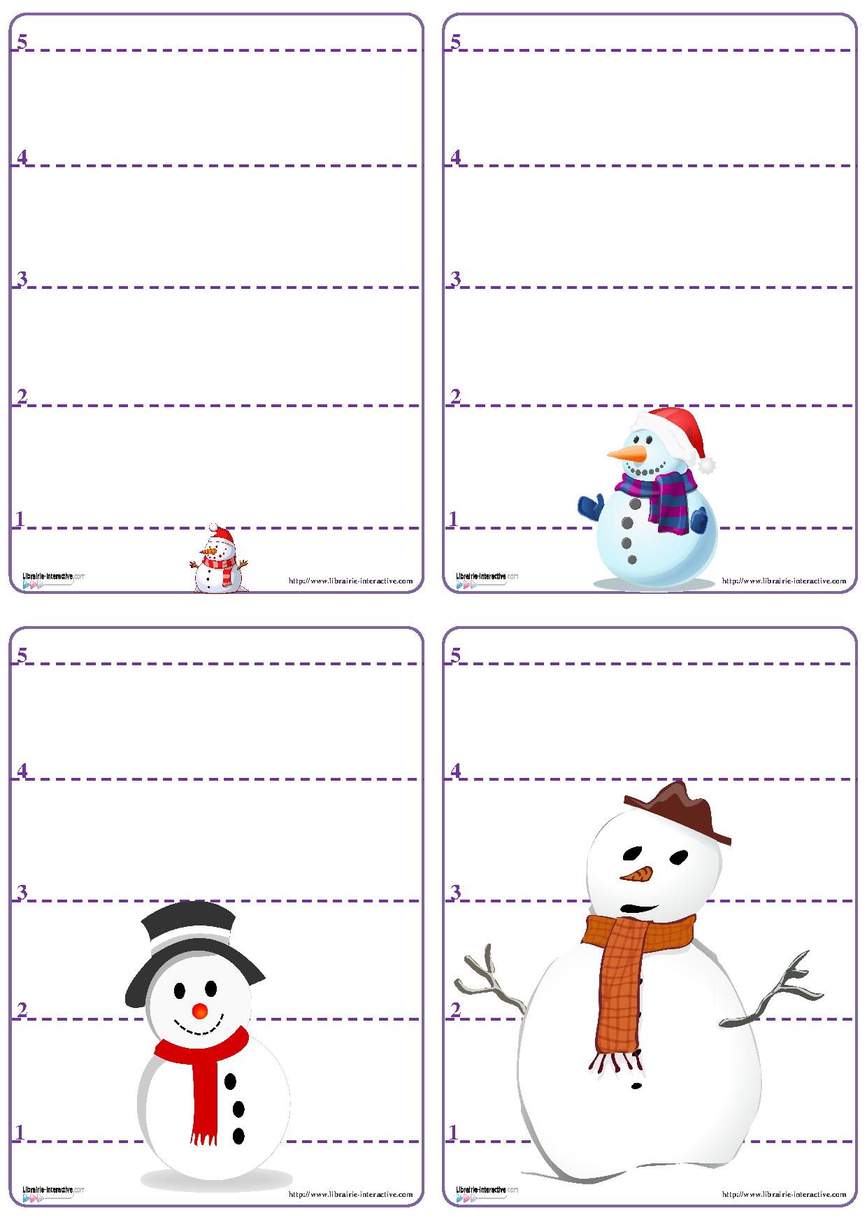 Un jeu de bataille avec les chiffres de 1 5 sur le th me du bonhomme de neige schoul - Activite hiver maternelle ...