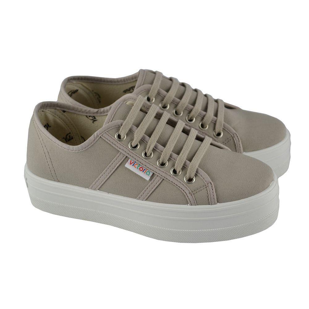 premium selection 27cc4 9a6e2  Zapatillas deportivas con cordones y lona sobre plataforma seguida de goma  de 4cm. de altura de VICTORIA.