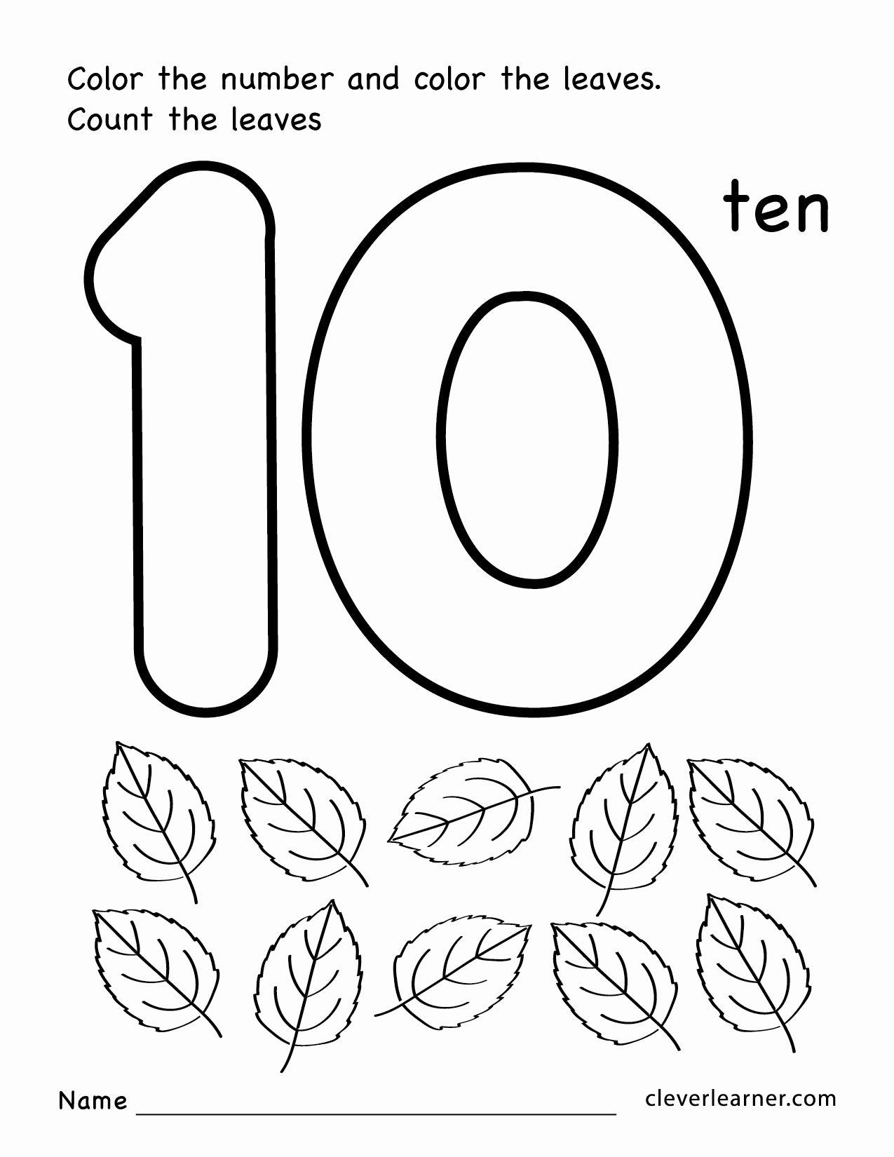 Number 10 Worksheets Preschool in 2020 Free printable