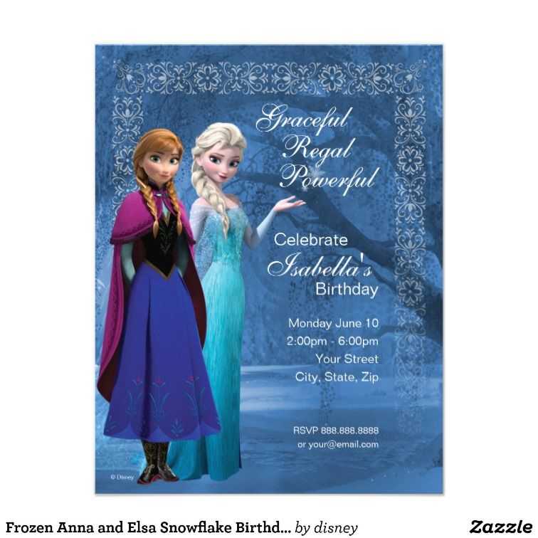 Frozen Anna And Elsa Snowflake Birthday Invitation Girls Birthday