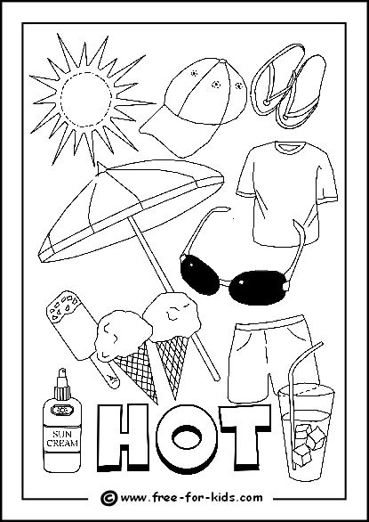 Image Of Hot Day Colouring Page Summer Safety Activities