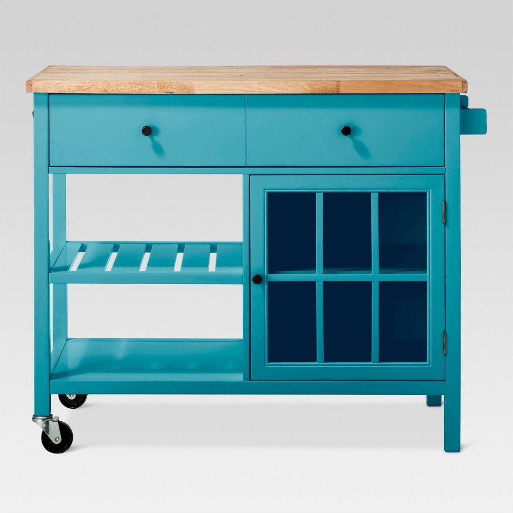 Windham Wood Top Kitchen Island Teal Blue Threshold