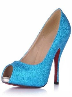 27b2a7fad2a5 Heel Height 2  Platform Blue Sequin Paillette Red Bottom Shoes Highheels