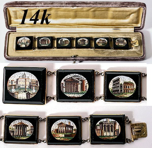 Antique Victorian Grand Tour Micro Mosaic Bracelet, 14k - Micromosaic Roman Ruins, Rome EC! In Original Box!