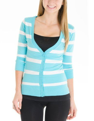Juniors T-Shirt Fabric Cardigan 3/4 Sleeve 6 Button Many Colors (Small, Striped:Oasis/White) Cotton Cantina,http://www.amazon.com/dp/B00DZUROHY/ref=cm_sw_r_pi_dp_b78qsb0WJHG0N8AH