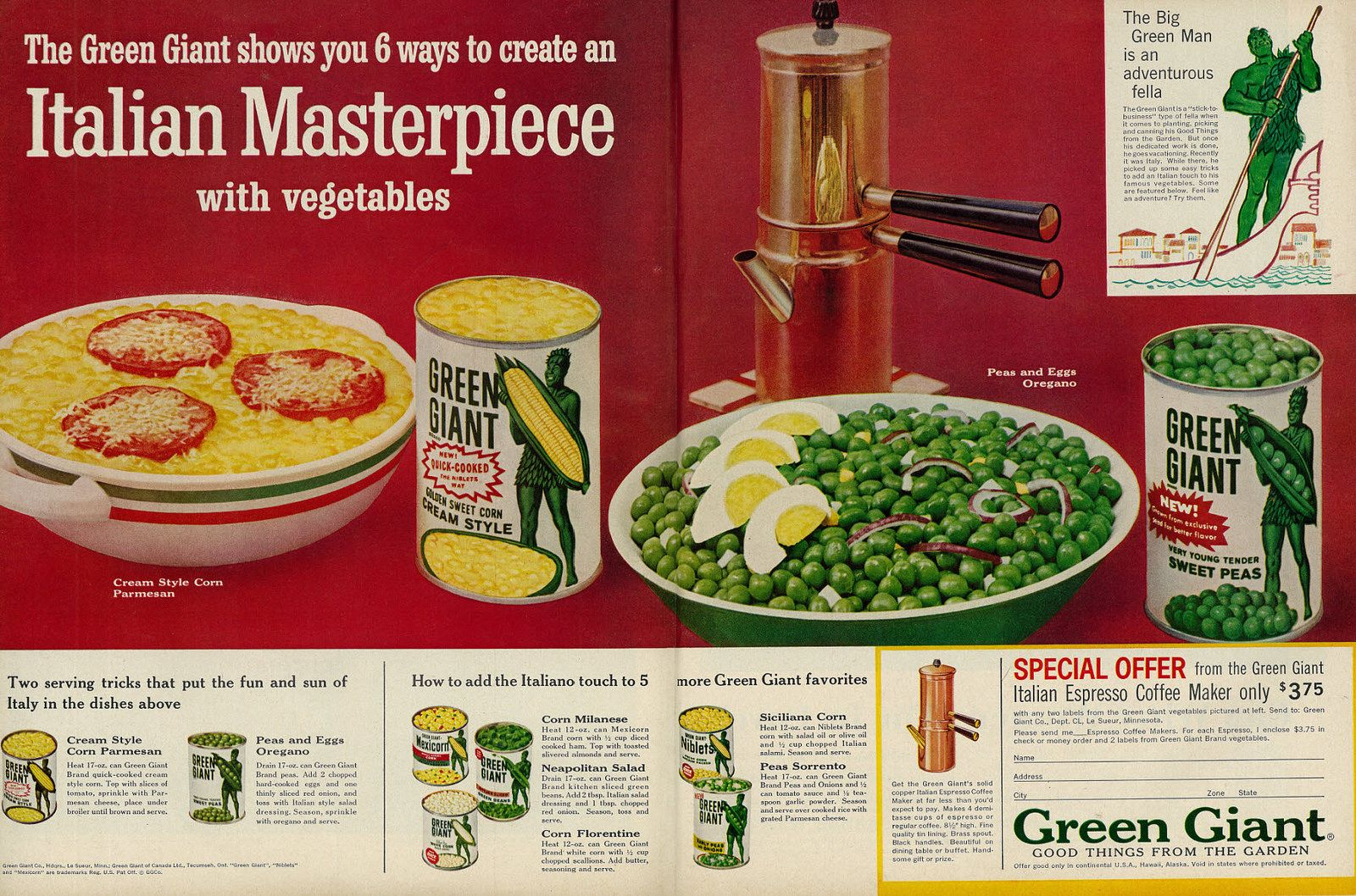 1961 Food Ad Green Giant Veggies With Recipes Italian Espresso Coffee Maker Offer 2 Page Advert Green Giant Italian Recipes Food