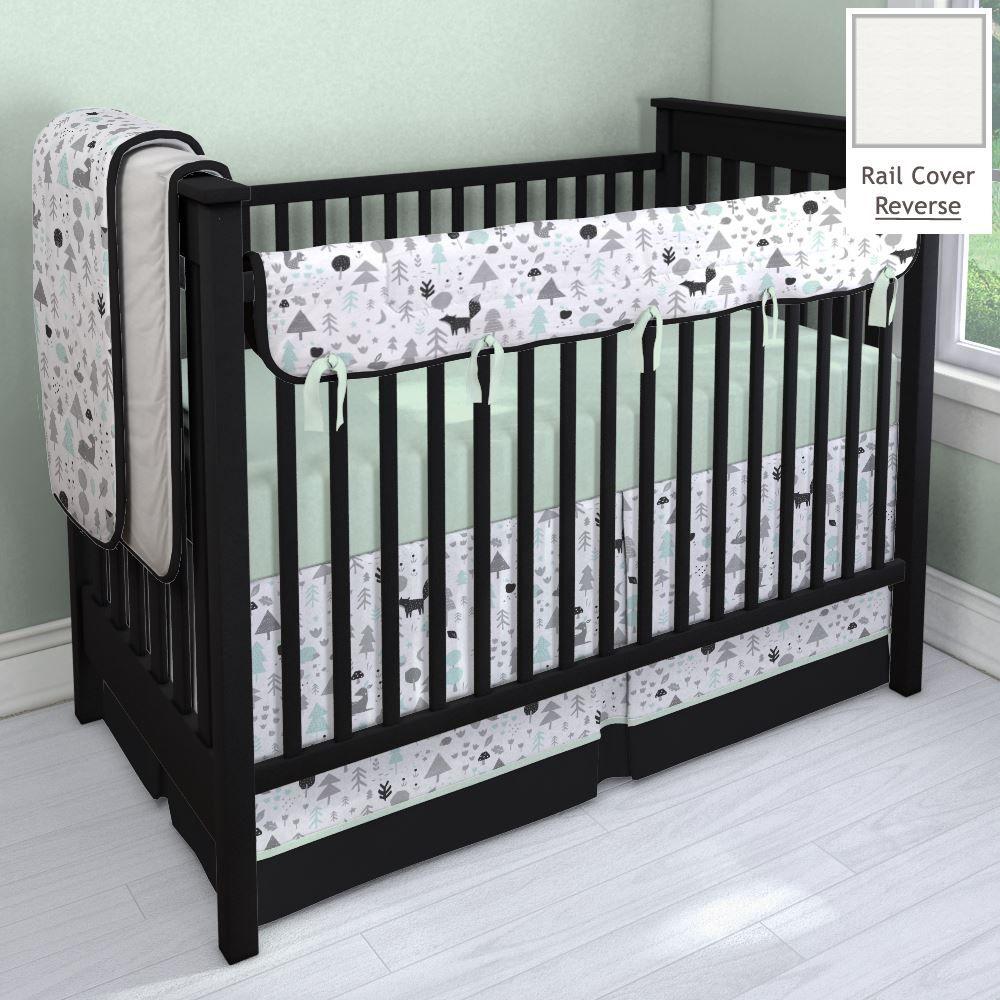 Icy Mint And Onyx Baby Woodlands Nursery Idea Customizable Crib Bedding Set Carousel Des Woodland Crib Bedding Baby Girl Bedding Sets Woodland Baby Nursery