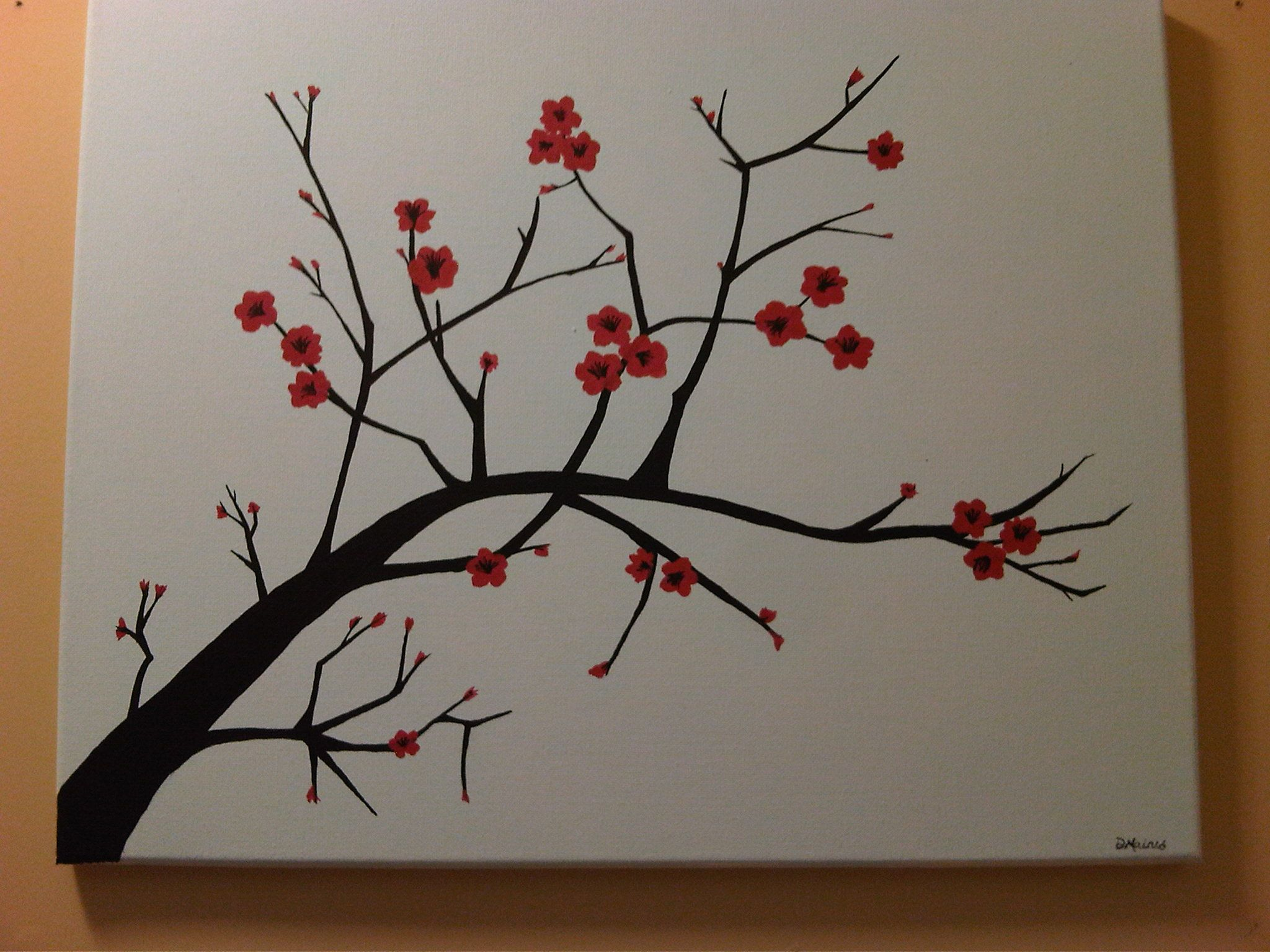 7 steps to create a cherry blossom painting simple for Creating a mural