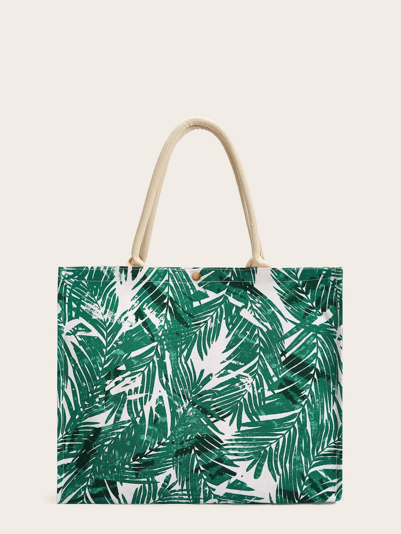 Ad: Leaf Print Canvas Tote Bag. Tags: Boho, 100% Canvas, Green, Yes, Double Handle, Large, Plants #fashion #womenfashion #womenclothes #shein #woodentotebag
