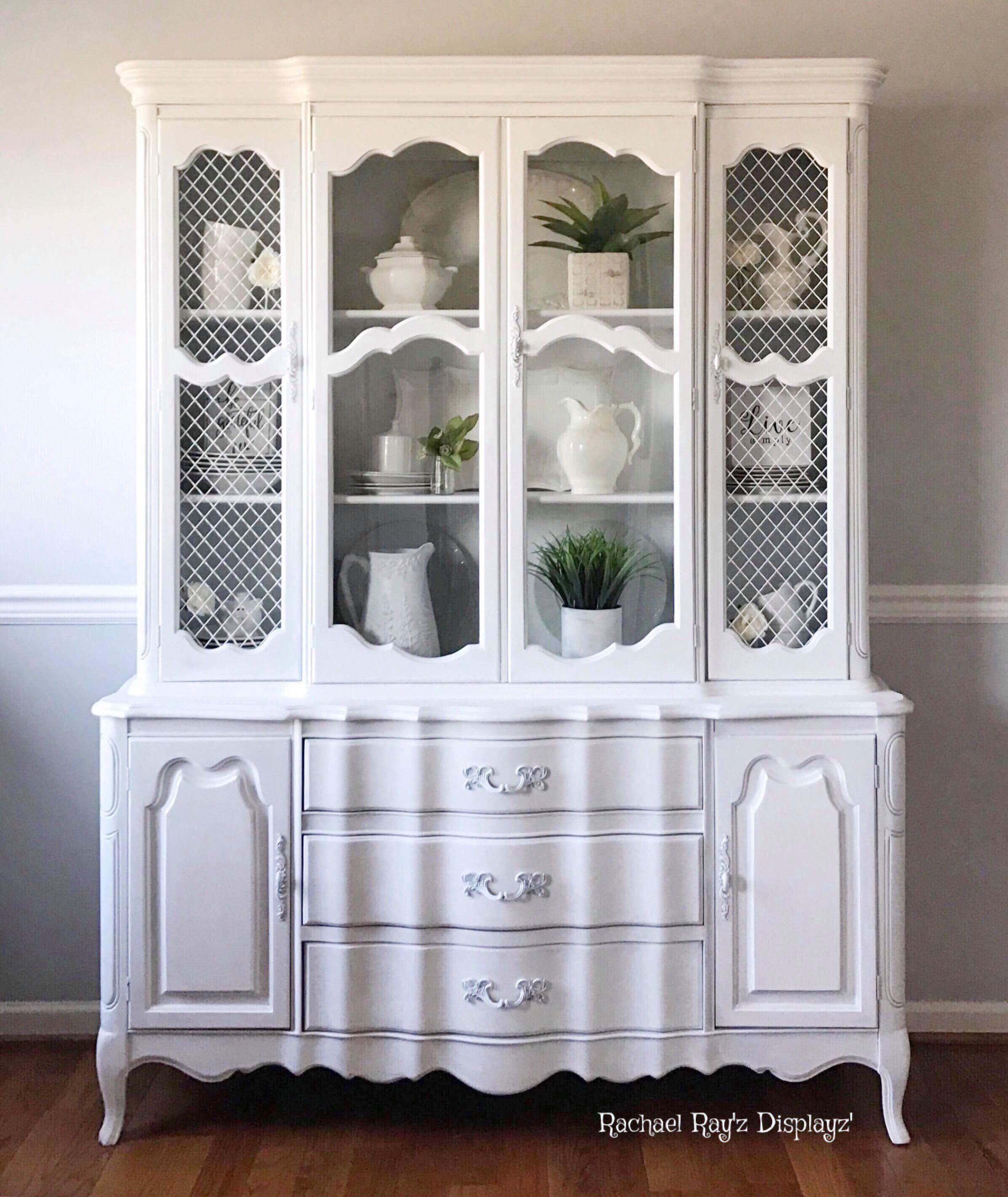 gorgeous white vintage french provincial china cabinet hutch storage rh pinterest com