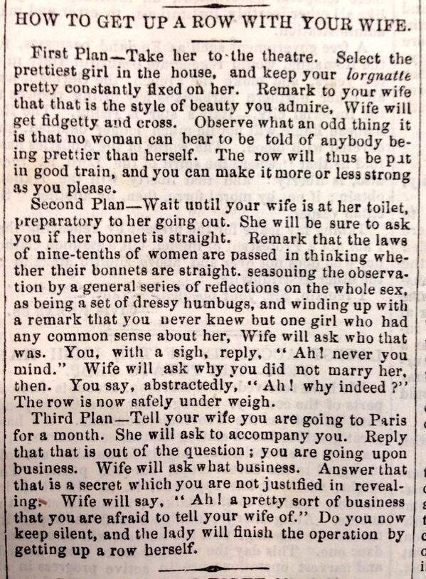 This is a newspaper clipping from the late 1800's and it says everything about how women / wives were perceived!